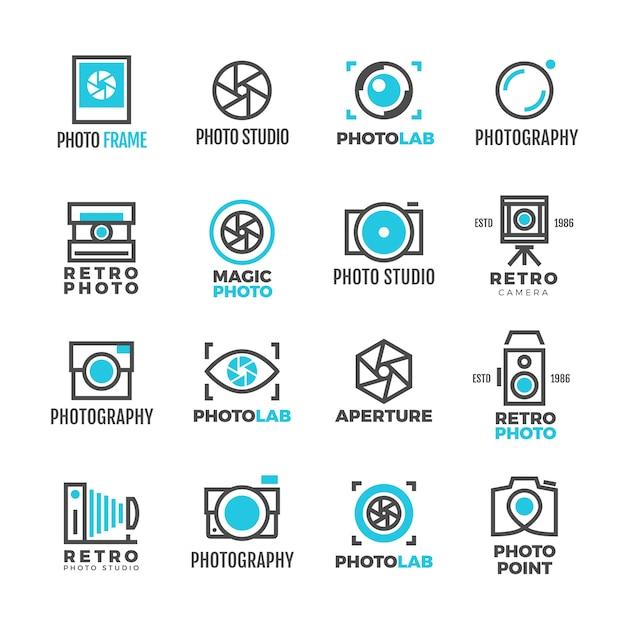 Fotografie studio logo vintage voor fotograaf Premium Vector