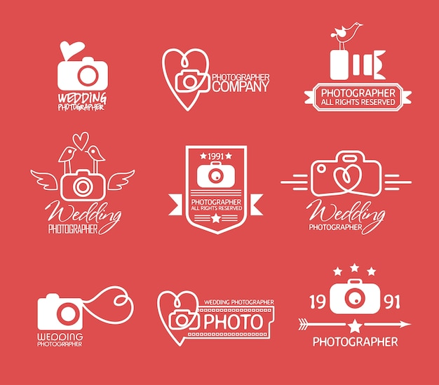 Fotografiebadges en etiketten in vintage stijl Premium Vector
