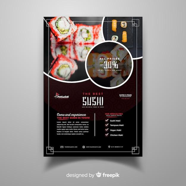 Fotografische chinese restaurantvlieger Gratis Vector