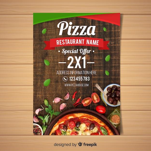 Fotografische pizzarestaurantvlieger Gratis Vector