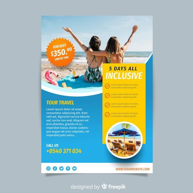 Fotografische reizen brochure sjabloon Gratis Vector