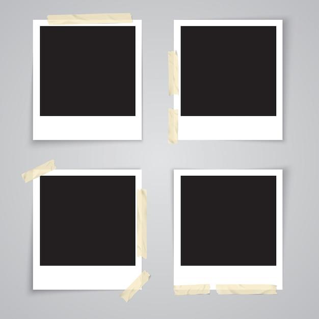 Fotokader met plakband en schaduw geïsoleerde realistische vectorillustratie Premium Vector