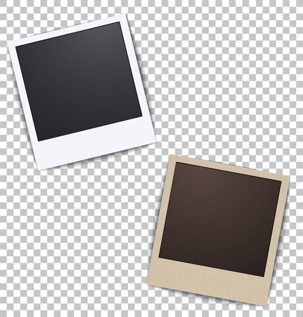 Fotokader op wit een plaid met schaduw Premium Vector