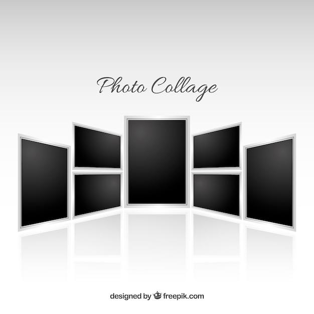 Fotolijst collage in realistische stijl Gratis Vector