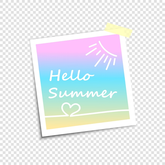 Fotolijst, imitatie polaroidfoto hallo zomer Premium Vector
