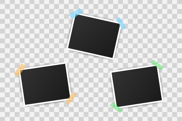 Fotolijst mockup ontwerp. realistische foto met lege ruimte voor uw afbeelding. Premium Vector