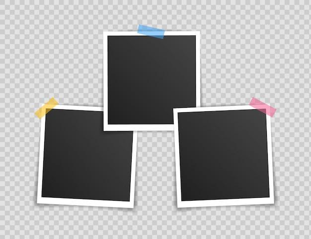 Fotolijst mockup ontwerp. super set fotoframe op plakband geïsoleerd op transparante achtergrond. Premium Vector