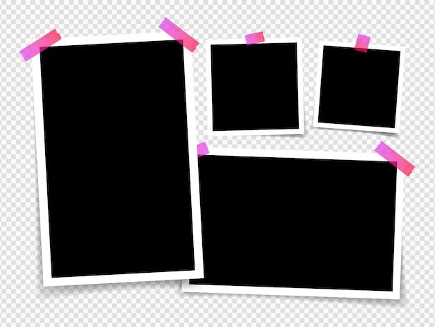 Fotolijstjes geïsoleerd op transparante achtergrond. lay-out van frame fotolijsten op plakband. sjabloon foto ontwerp. illustratie Premium Vector