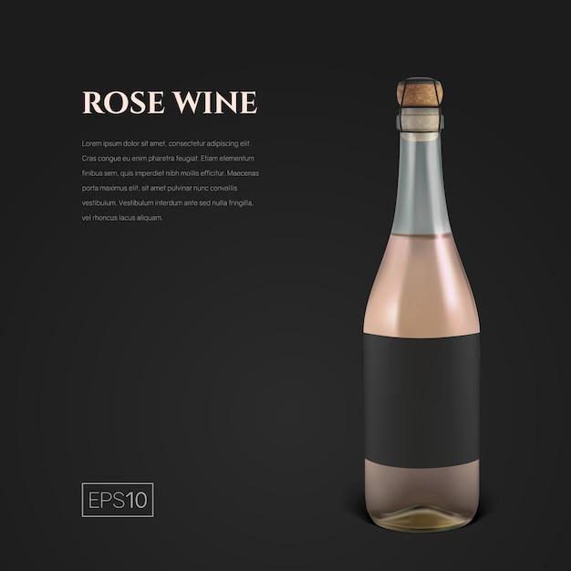 Fotorealistische fles roze mousserende wijn op zwart Premium Vector