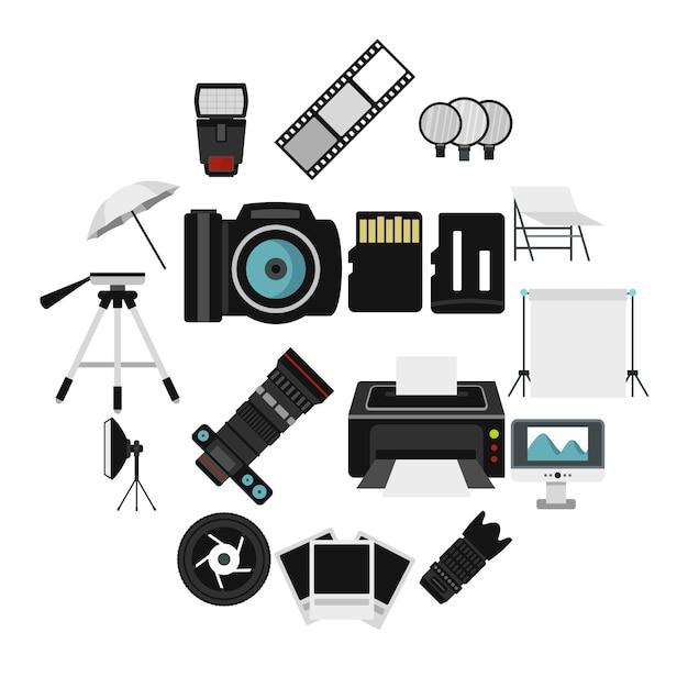 Fotostudio apparatuur iconen set, vlakke stijl Premium Vector