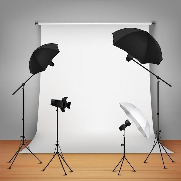 Fotostudio ontwerp concept Gratis Vector
