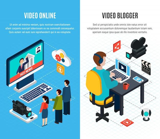 Fotovideo isometrische verticale banners ingesteld met massamedia en video blogging afbeeldingen met bewerkbare tekst Gratis Vector