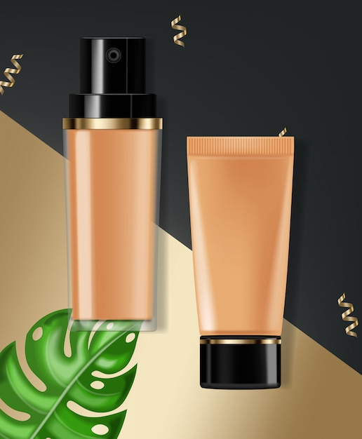 Foundation cream realistische cosmetica Premium Vector