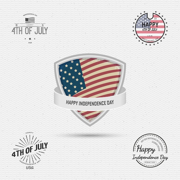 Fourth of july independence day usa badges Premium Vector