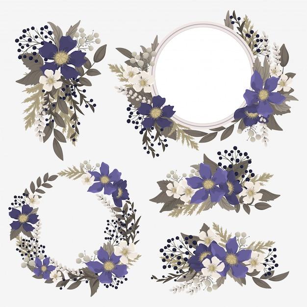 Fower page boarders - rode, lichtblauwe, witte bloemen Gratis Vector