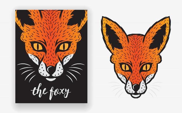 Fox animal poster-sjabloon met minimale, eenvoudige en moderne stijl Premium Vector