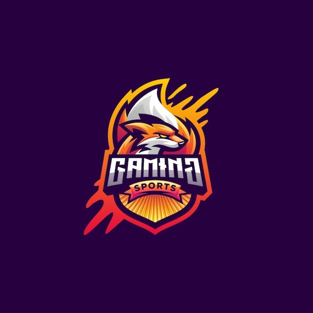 Fox logo-ontwerp voor gaming-esports Premium Vector