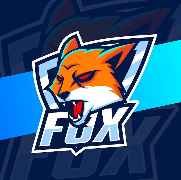 Fox mascotte esport logo ontwerpen Premium Vector