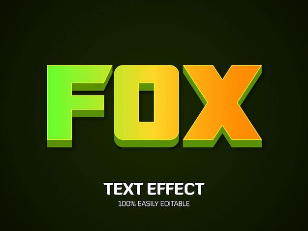 Fox tekst effect. lettertype Premium Vector