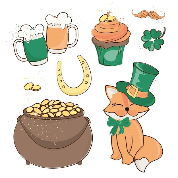 Fox treasure saint patrick's day cartoon vectorillustratie Premium Vector