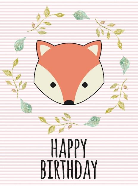 Fox verjaardag Premium Vector