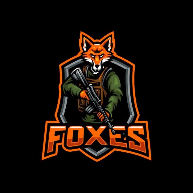 Foxes mascotte esport gaming-logo Premium Vector