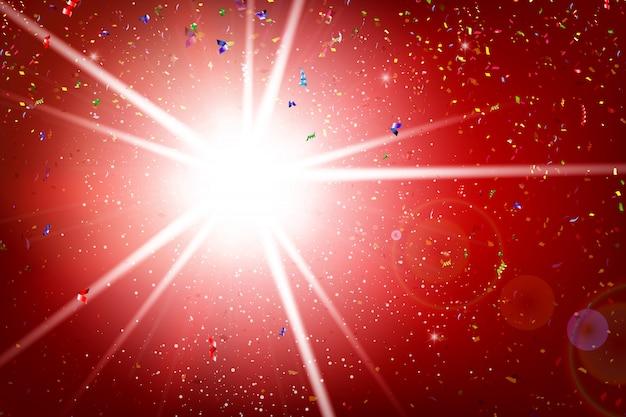 Fractal van het regenbooglint explodeert en valt op verlichting en rode achtergrond Premium Vector