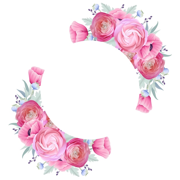 Frame achtergrond met bloemen ranunculus en poppy bloemen Premium Vector