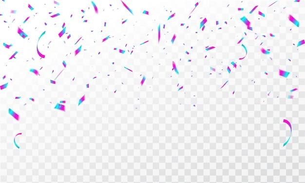 Frame achtergrond met kleurrijke confetti viering carnaval linten Premium Vector
