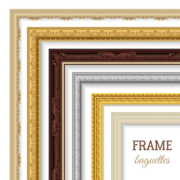Frame baguetteset Gratis Vector