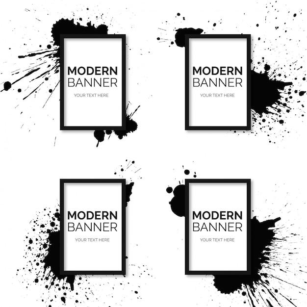 Frame-bannerverzameling met zwarte verfspatten Gratis Vector