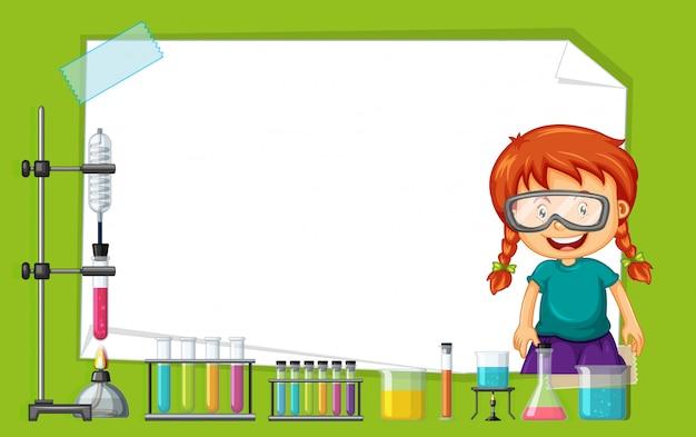 Frame design met meisje bezig met experiment Gratis Vector