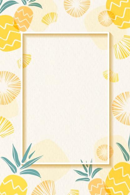 Frame met ananasmotief Gratis Vector