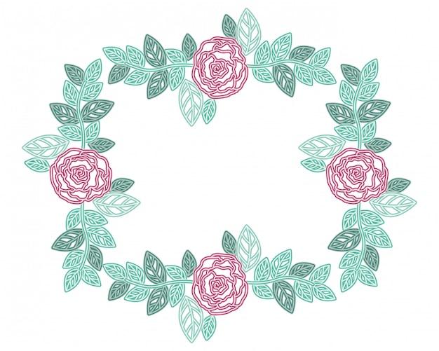 Frame met bloemen geïsoleerde pictogram Premium Vector
