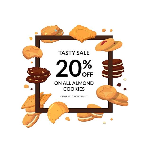 Frame met cartoon cookies eromheen, sjabloon voor spandoek Premium Vector