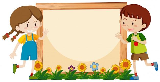 Frame met gelukkige jongen en meisje in de tuin Premium Vector