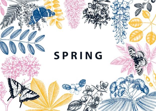 Frame met lentebomen in bloemenillustraties. hand getekend bloeiende plant achtergrond. vector bloem, blad, tak, boom schetst sjabloon. lente kaart of wenskaart. Premium Vector