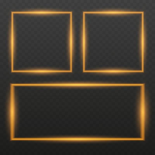 Frame met lichteffecten. gloeiende neon vuurgolf. glitter sparkle trail-effect. Premium Vector