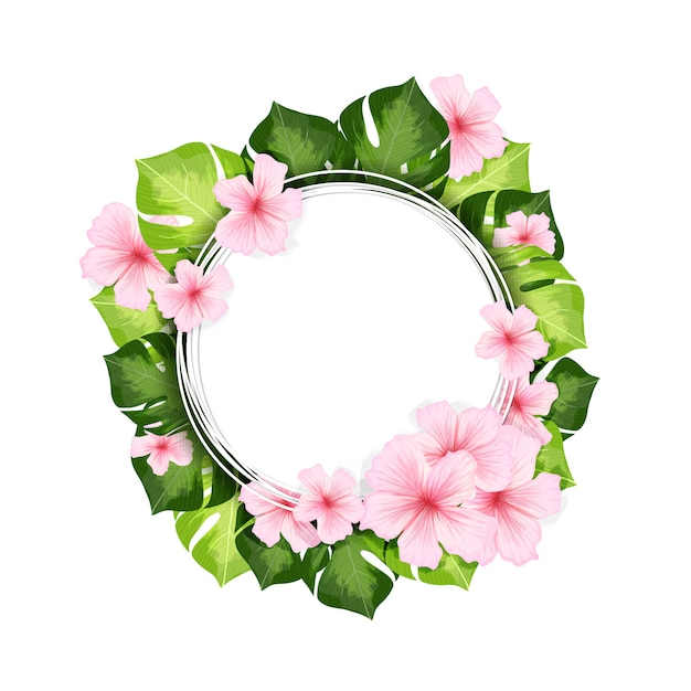 Frame met monsterabladeren en bloemen Gratis Vector