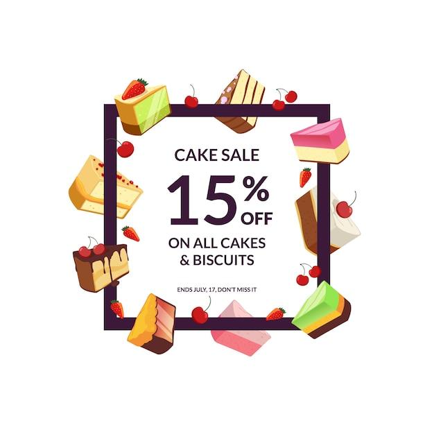 Frame met plaats voor tekst en cartoon stukjes cake verkoop Premium Vector