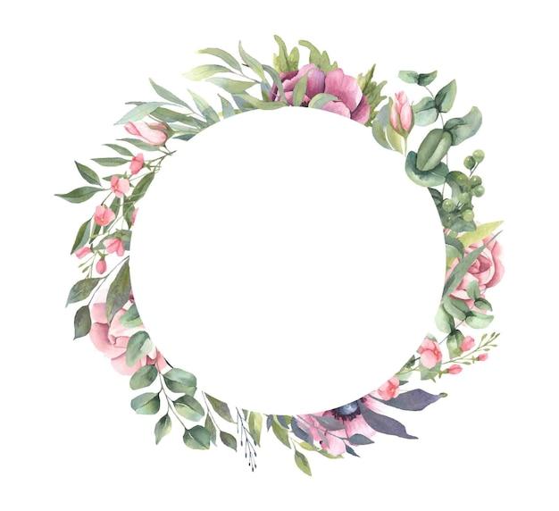 Frame met roze bloemboeketten, bladeren. Premium Vector