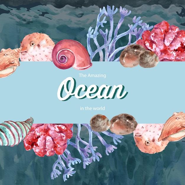 Frame met sealife-thema, creatief de illustratiemalplaatje van de contrastkleur. Gratis Vector