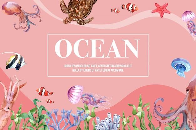 Frame met sealife-thema, creatief warm afgezwakt kleurenillustratiesjabloon. Gratis Vector