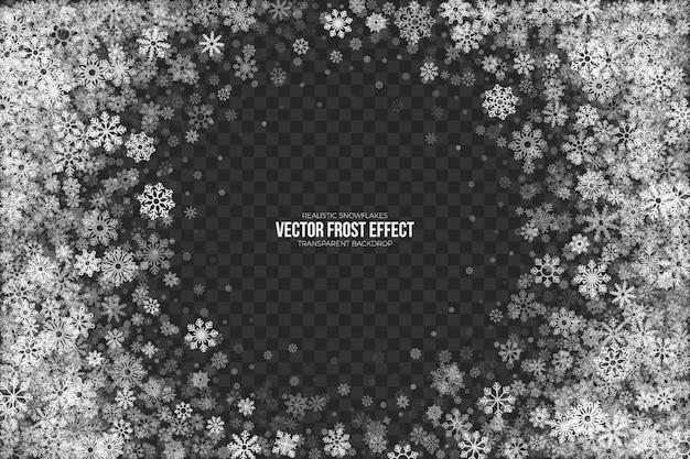 Frame met sneeuwvorsteffect Premium Vector