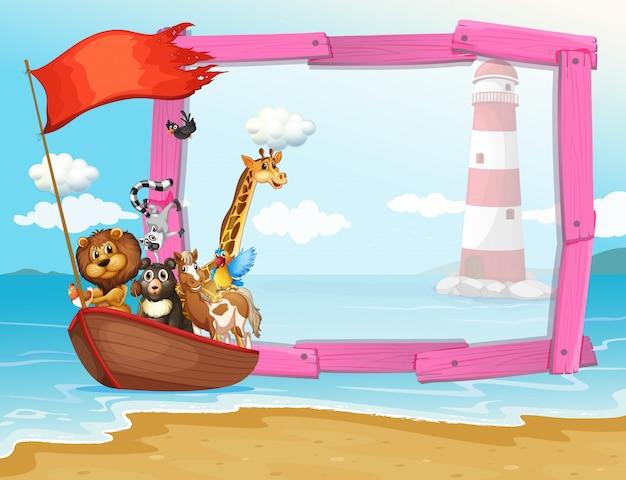 Frame met wilde dieren in de boot Gratis Vector