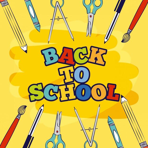 Frame of elements terug naar school illustratie Gratis Vector