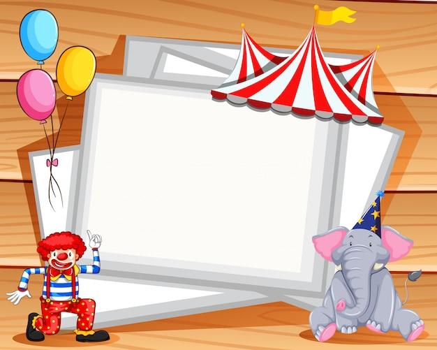 Frame ontwerp met clown en olifant met copyspace Gratis Vector
