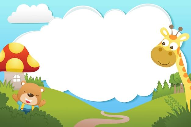 Frame sjabloon cartoon met schattige dieren. beer en giraf op aardachtergrond Premium Vector