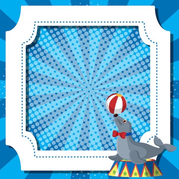 Frame sjabloon met zeehond bal spelen Premium Vector