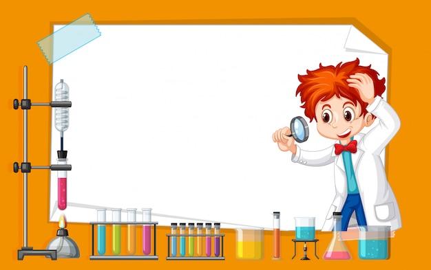 Frame sjabloonontwerp met kind in science lab Gratis Vector